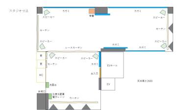 [ スタジオ配置図面 ] 椅子・テーブルなどのレイアウトは自由に使えます。 - Luna6Fun(ルナ・ファン) レンタルスタジオ&スペースの室内の写真