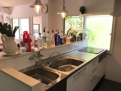 キッチンは、シンク2つ IH 3口 高さは、90センチなので、男性使用しやすい。 - 新大阪 ここから100 多目的コミニティスペースの設備の写真